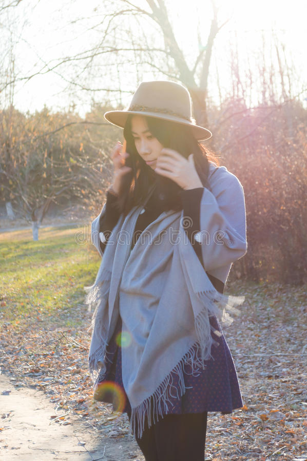 Fall, junge reizende asiatische Frau 2 des Herbstes lizenzfreies stockbild