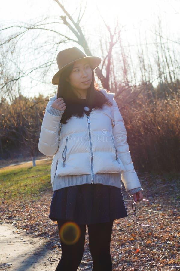 Fall, junges asiatisches reizendes Mädchen 2 des Herbstes stockfotos