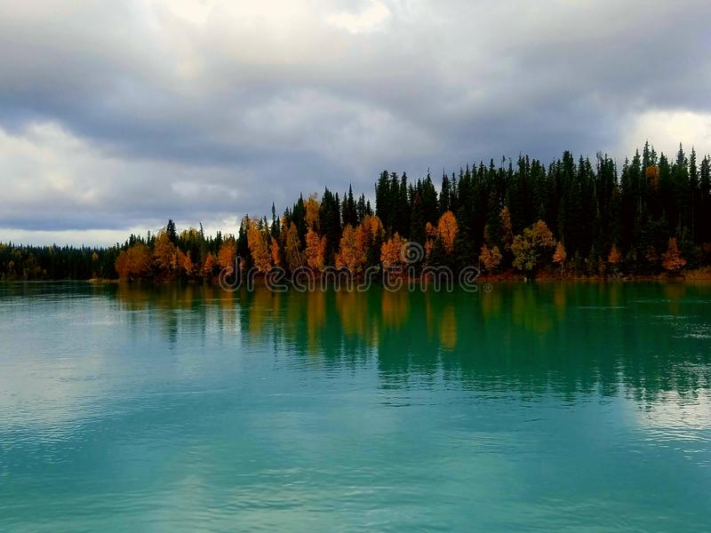 Fall on the kasilof river stock photo