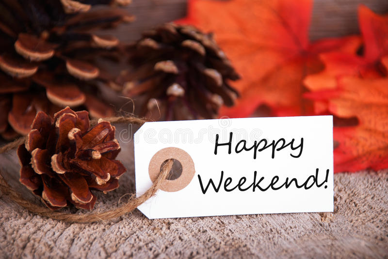 Fall Label with Happy Weekend royalty free stock photo