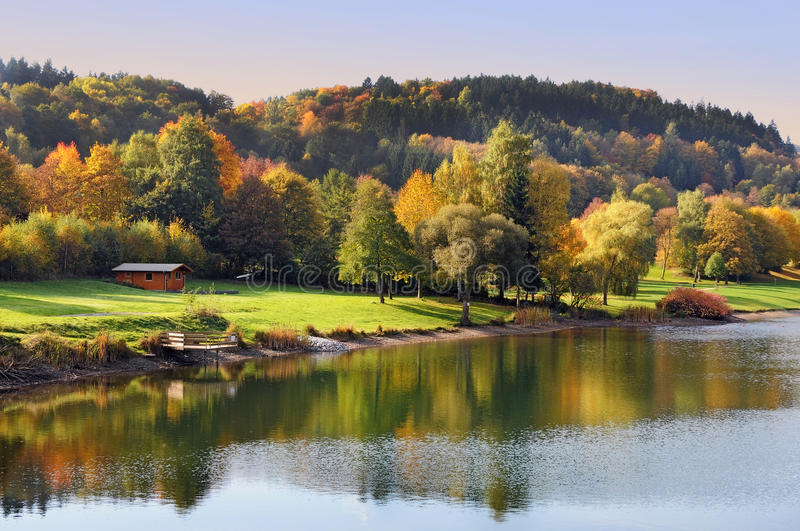 Fall Landscape in Eifel. Fall landscape at Rursee in the nature park of Eifel in Germany royalty free stock images