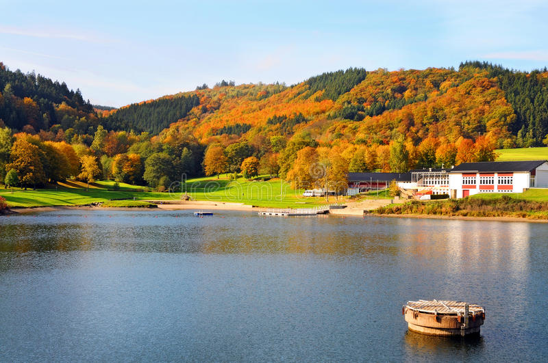 Fall Landscape in Eifel. Fall landscape at Rursee in the nature park of Eifel in Germany stock photos