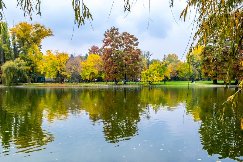Fall Landscape. In Alexandru Ioan Cuza IOR Park, Bucharest, Romania royalty free stock photos