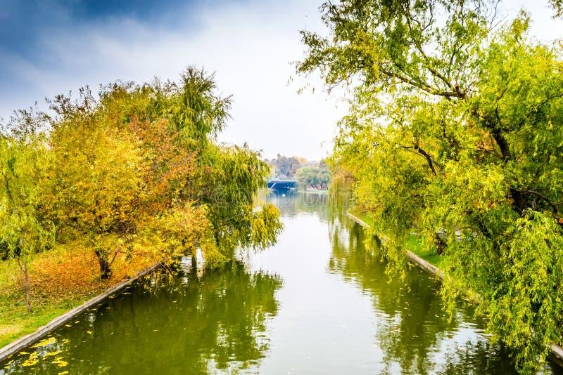 Fall Landscape. In Alexandru Ioan Cuza IOR Park, Bucharest, Romania stock photo