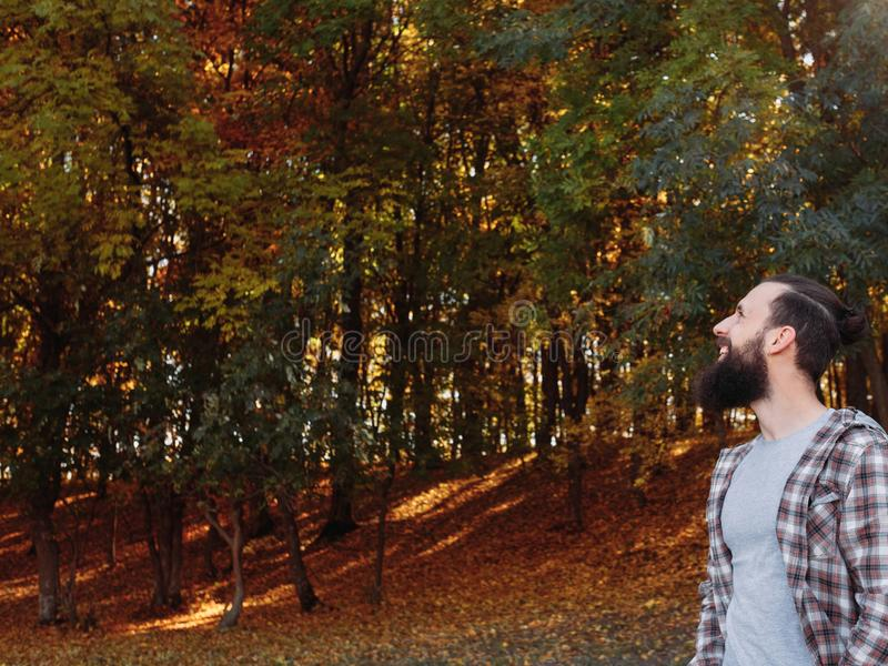 Fall landscape happy male tourist nature park royalty free stock image