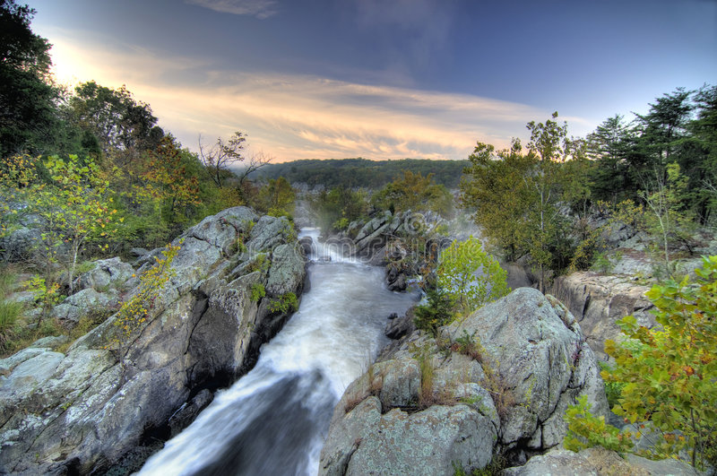Fall Landscape in HDR. This was taken at Great Falls in Maryland, USA at the beginning of the 2008 fall season stock photo