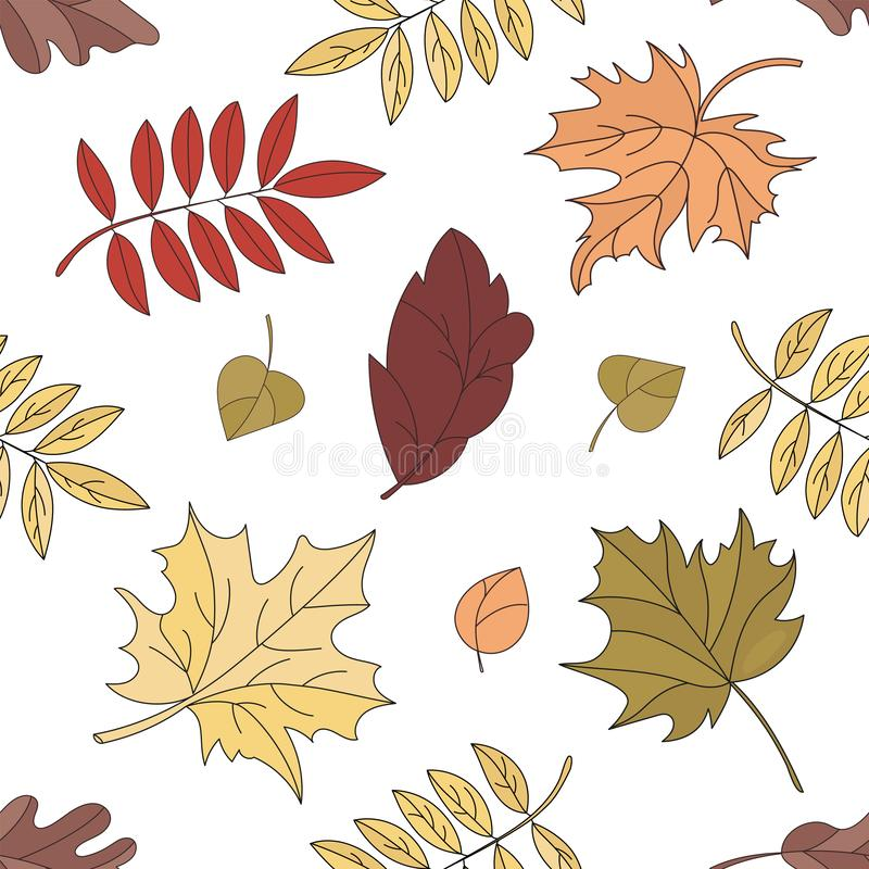 FALL LANDSCAPE Leaves Seamless Pattern Vector Illustration. FALL LANDSCAPE Leaves Nature Autumn Season Seamless Pattern Vector Illustration for Print Fabric and vector illustration