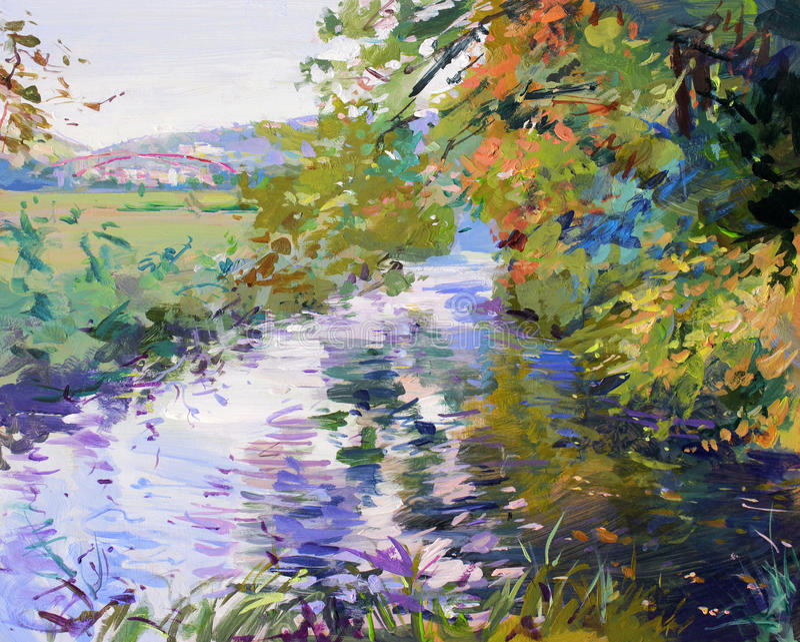 Fall landscape painting vector illustration