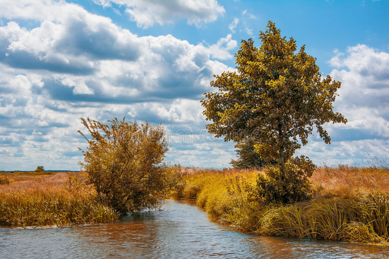 Fall landscape with river stock photos