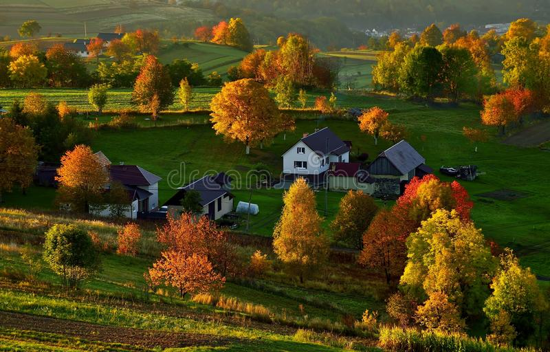Fall landscape in Slovakia. Rural countryside in Polana region. Fields and meadows with autumn trees in Hrinova at sunrise royalty free stock image