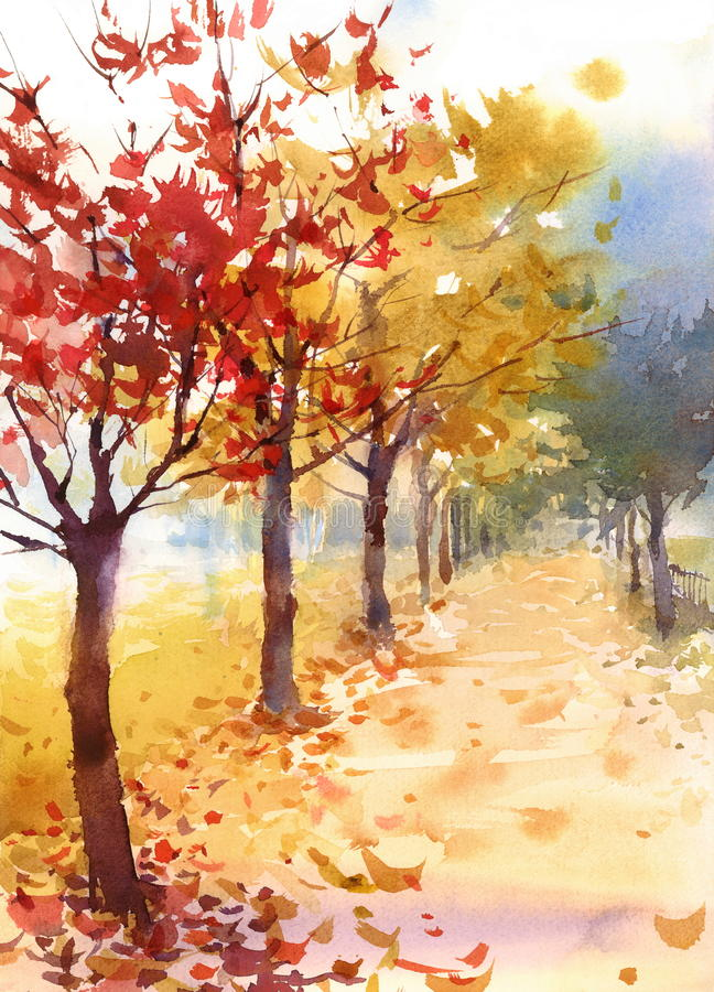 Fall Landscape with Trees and Fallen Leaves Watercolor Nature Illustration Hand Painted. Watercolor Fall Landscape with Trees and Fallen Leaves vector illustration