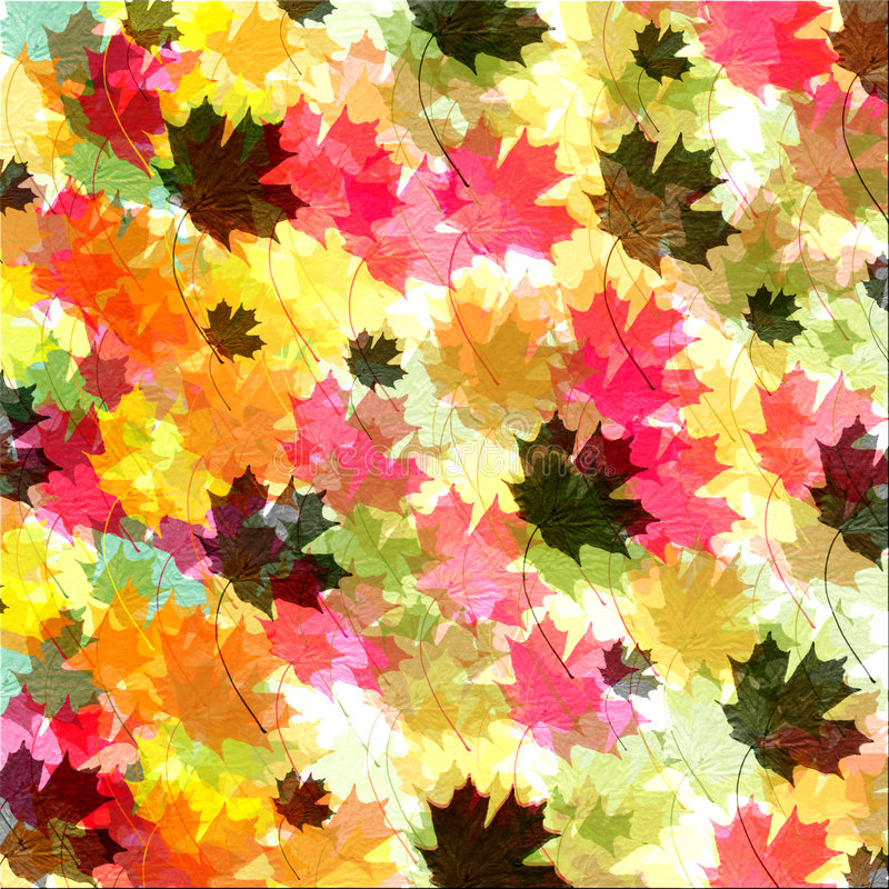 Fall leaf Background. Textured coloful fall leaf background - brush made by Denise Kappa