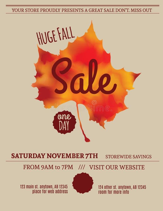 Fall leaf sale flyer template. Huge Fall Sale minimalist flyer template royalty free illustration