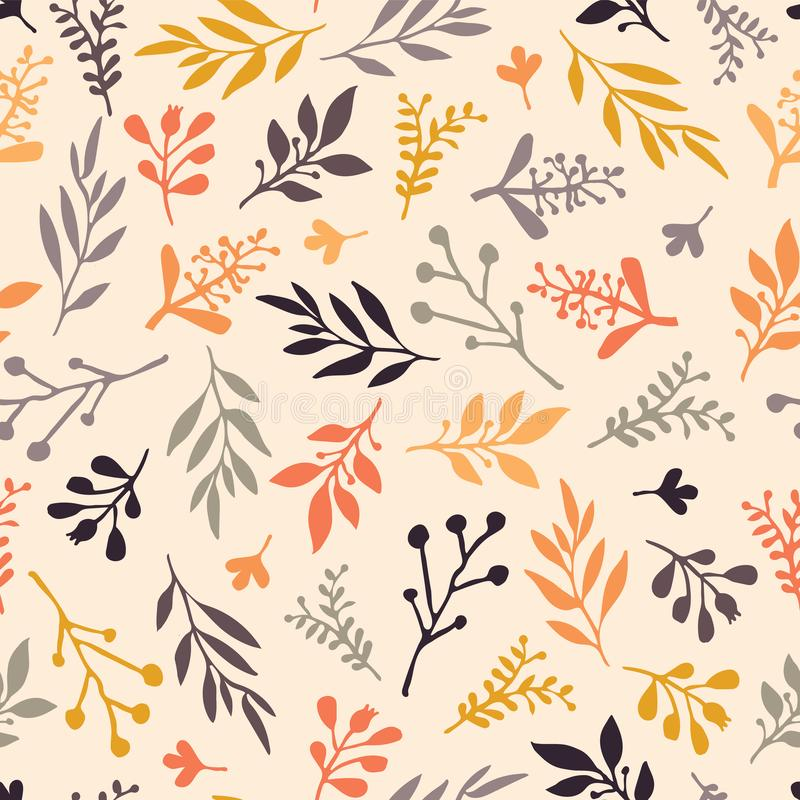 Fall leaf seamless vector background. Orange, gold, purple, gray leaves on a beige autumn background. Abstract nature pattern. Simple Doodle leaf print stock illustration