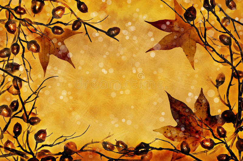 Fall leaves. Twigs and acorns with fall leaves frame a golden background with snow falling. Christmas simple or fall theme stock illustration