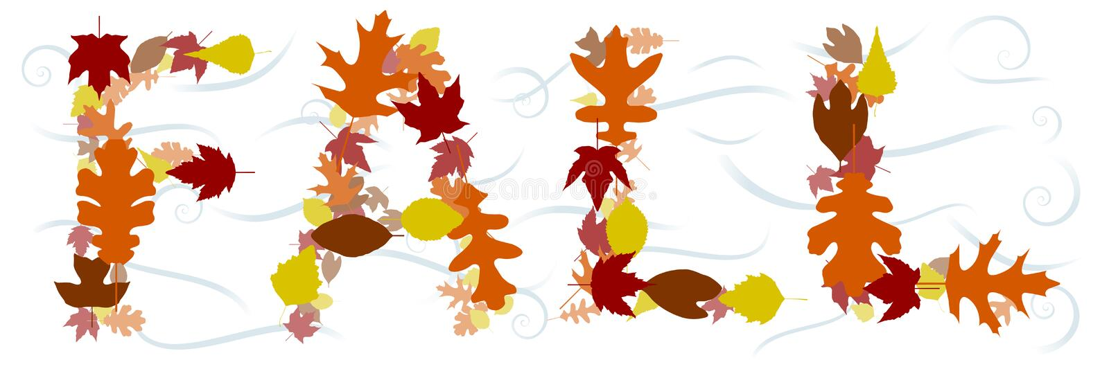 FALL in leaves. The word FALL composed of leaves and swirls of wind royalty free illustration