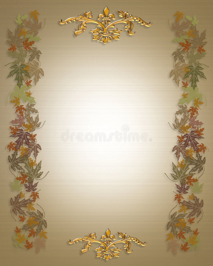 Fall Leaves Autumn Background. Illustrated Fall leaves Autumn Background for card, wedding invitation, border or frame with copy space royalty free illustration