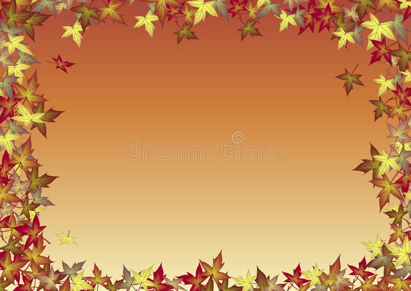 Fall Leaves Background. Illustration of blank background bordered by fall leaves stock illustration