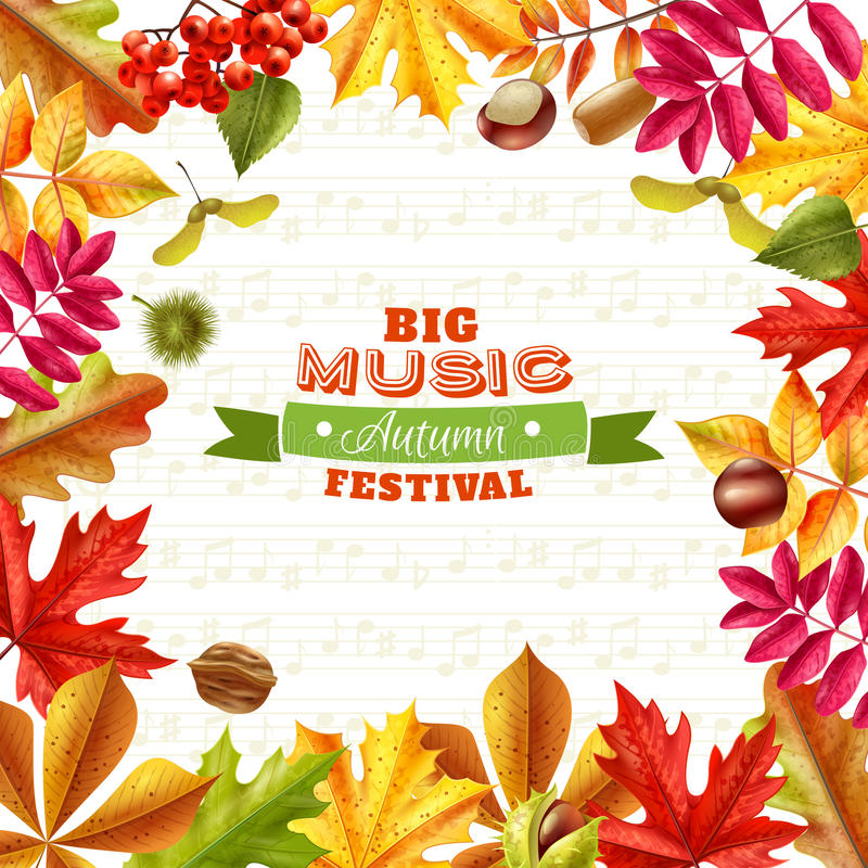 Fall Leaves Background. Big autumn music festival background with bright fall leaves chestnuts berries and acorns on textural background flat vector illustration stock illustration