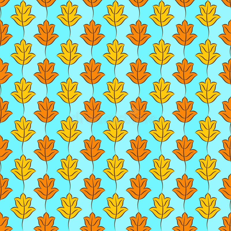 Fall Leaves Background. Colorful pattern of orange and yellow stylized fall leaves on light sky blue checkered background. Vector seamless repeat royalty free illustration