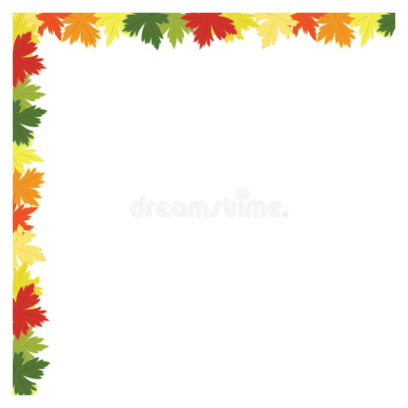 Fall leaves background frame. Colorful fall leaves background, multi colored autumn leaves frame royalty free illustration