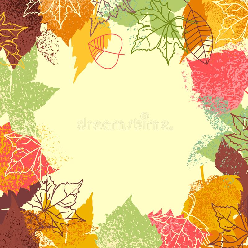 Fall leaves background. Frame for text stock illustration