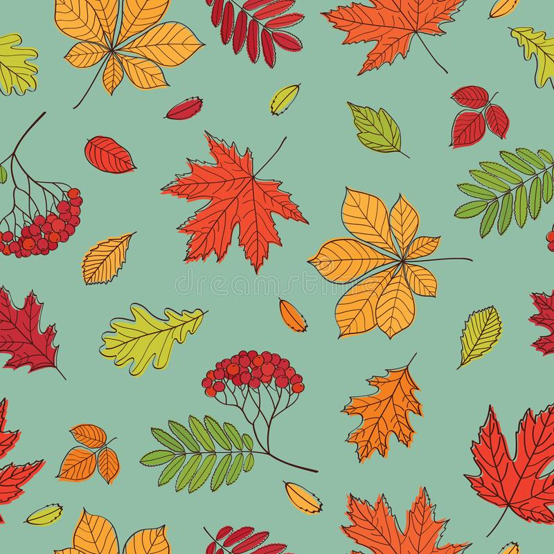 Fall of the leaves. Background with hand drawn leaves. Seamless pattern for textile, wallpapers, gift wrap and scrapbook. Vector illustration stock illustration