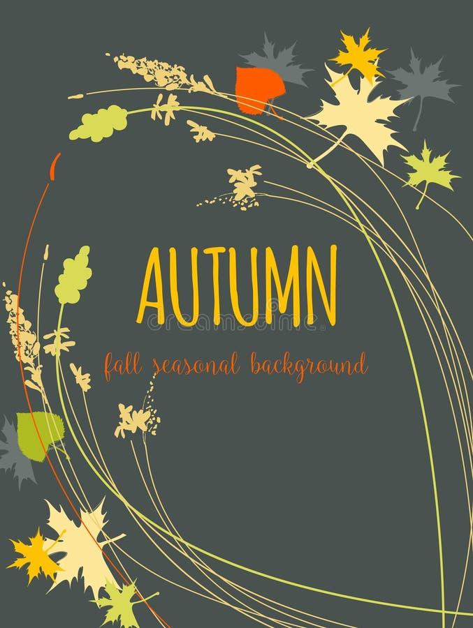 Fall leaves background. Maple leaf amd plants over dark grey background vector illustration