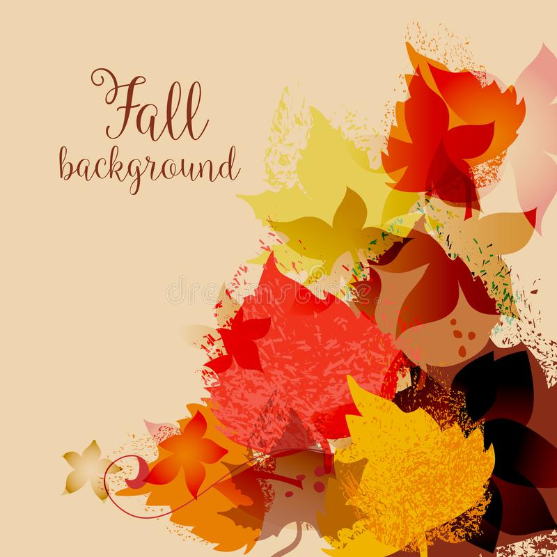 Fall leaves background, maple leaf in autumnal colors. Decorative corner royalty free illustration