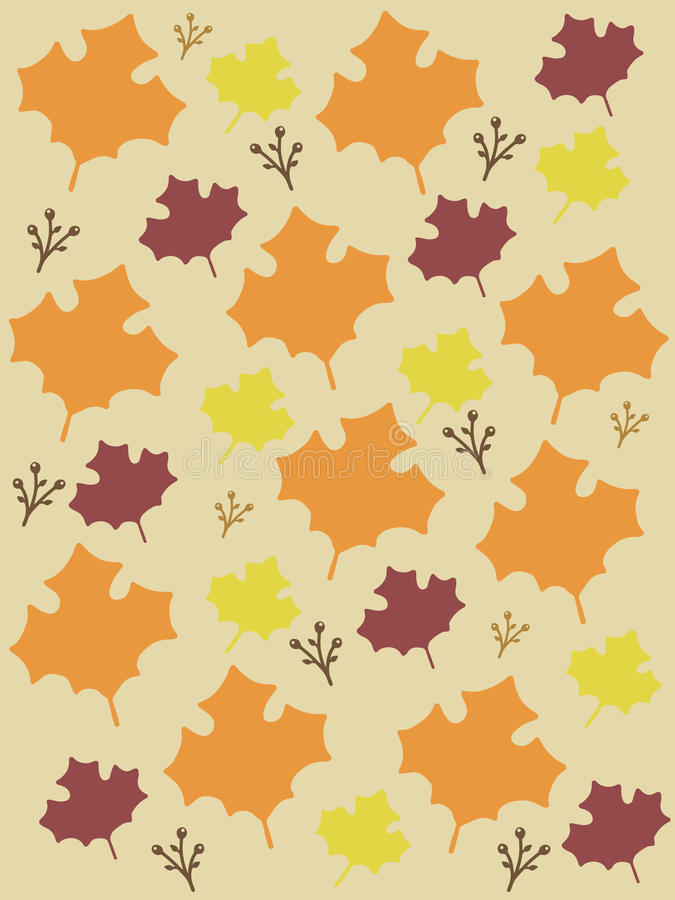 Fall Leaves background vector. Fall colors with repeating maple leaves. Autumn style background or digital paper vector images. Isolated background royalty free illustration