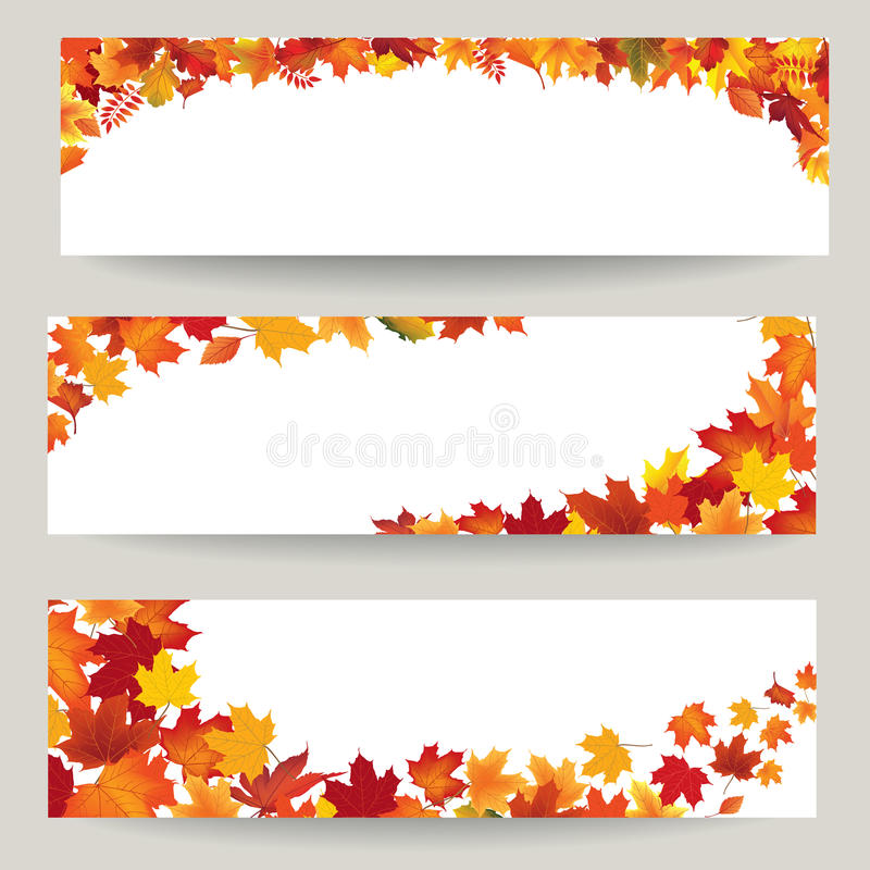Fall leaves banner set. Swirl autumn leaf background. Nature border stock illustration