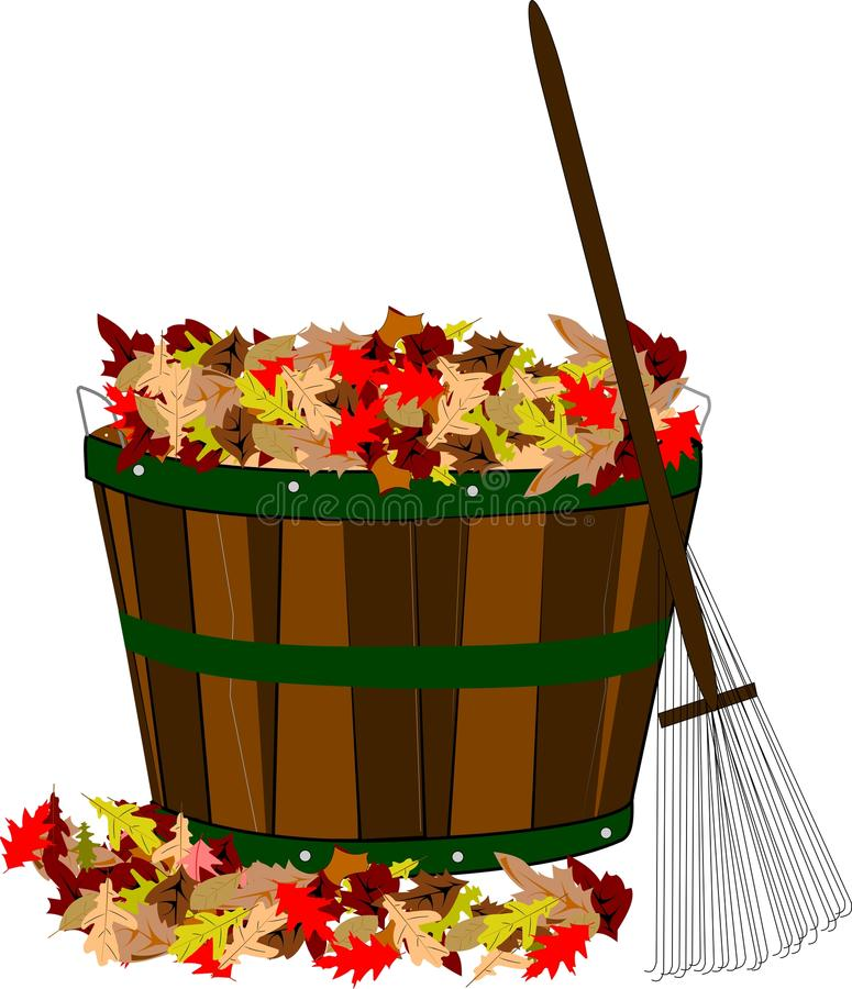Fall leaves in basket with rake stock illustration