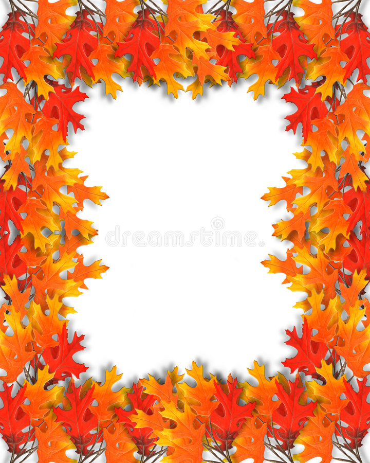 Fall Leaves border. Illustration of Thanksgiving Fall Leaves garland Frame or page border for Autumn background with copy space royalty free illustration
