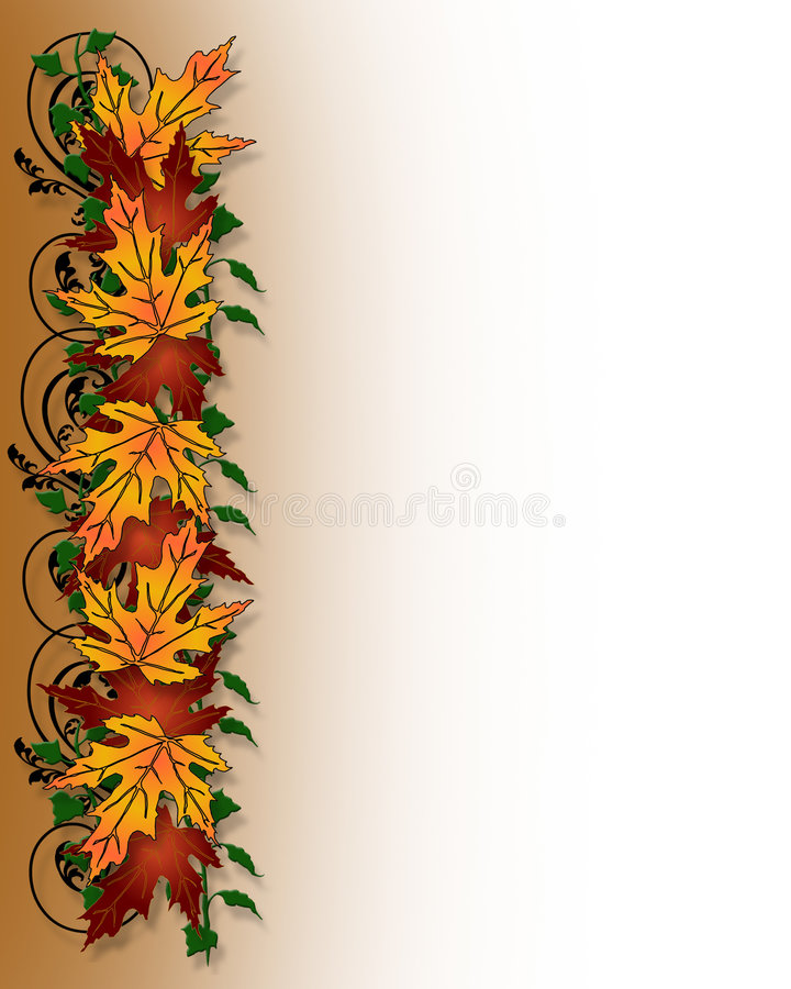 Fall Leaves Border. Illustration composition of colorful fall leaves for Thanksgiving invitation, Autumn border or background with copy space royalty free illustration