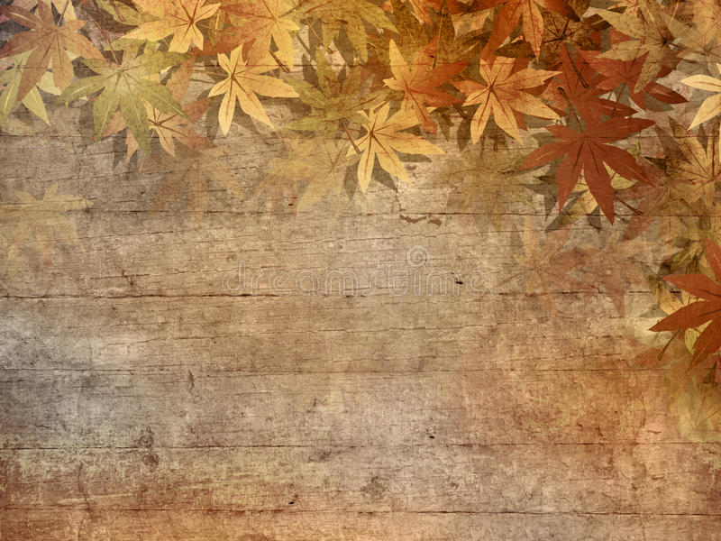 Fall leaves border. Autumn background with fall leaves frame against brown wooden planks - grunge style stock illustration