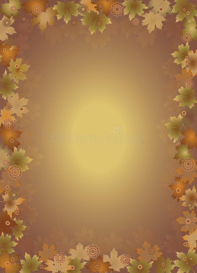 Fall leaves border isolates  on brown background. royalty free illustration