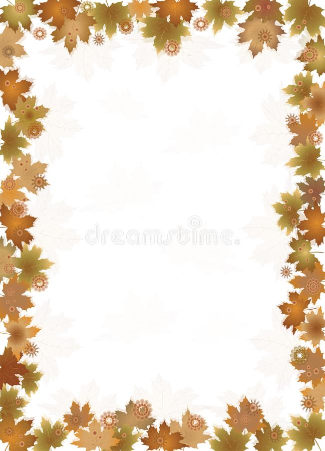 Fall leaves border isolates  on white background. royalty free illustration