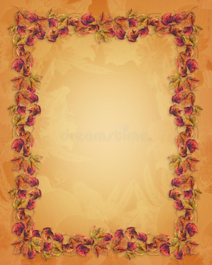 Fall leaves Border Thanksgiving Autumn. Image and Illustration composition for Thanksgiving invitation, Autumn greeting card border or background with real fall stock illustration