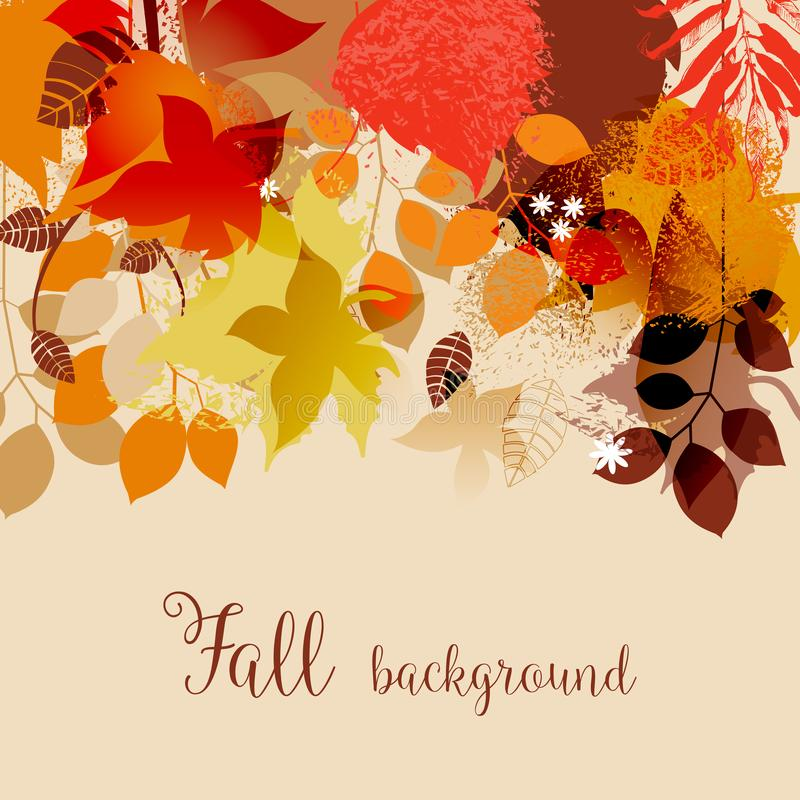Fall leaves in bright autumnal colors background. Fall leaves in bright autumnal colors seasonal background vector illustration