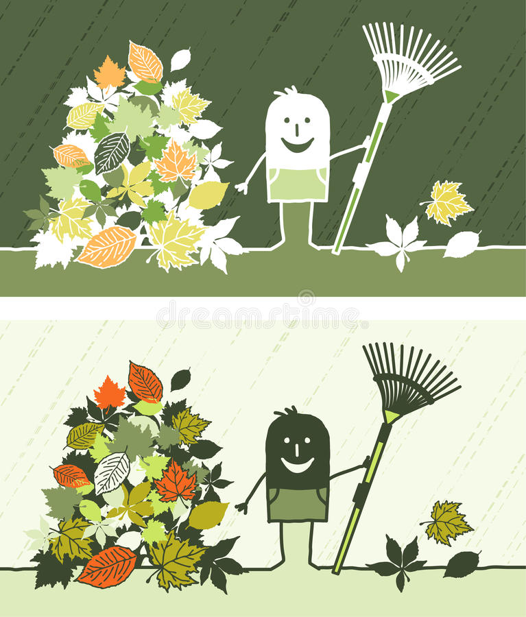Fall leaves colored cartoon. Hand drawn characters stock illustration