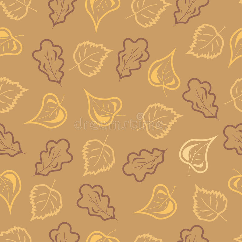 Fall Leaves. Fall colored leaves seamless pattern stock illustration