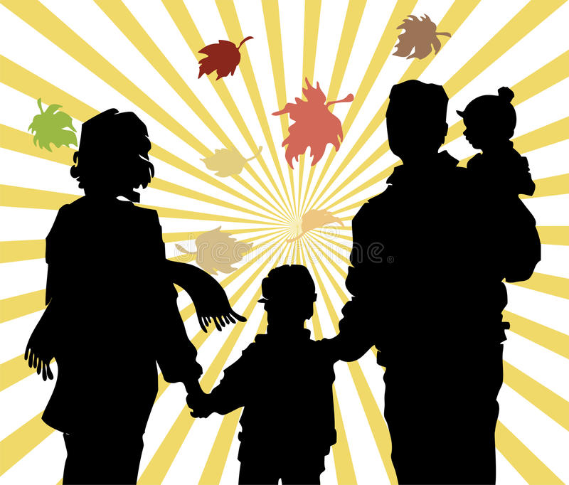 Fall leaves in family. Fall leaves in family with ray sun stock illustration