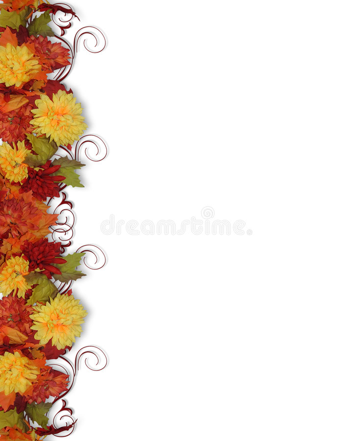 Fall Leaves and Flowers Border. Image and illustration composition for Thanksgiving, Fall wedding invitation, Autumn Leaves, flowers page border, background or royalty free illustration