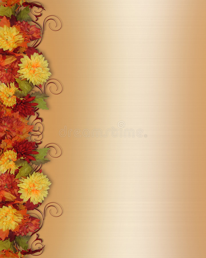 Fall Leaves and Flowers Border. Image and illustration composition for Thanksgiving, Fall, Autumn Leaves, page border or template with copy space vector illustration