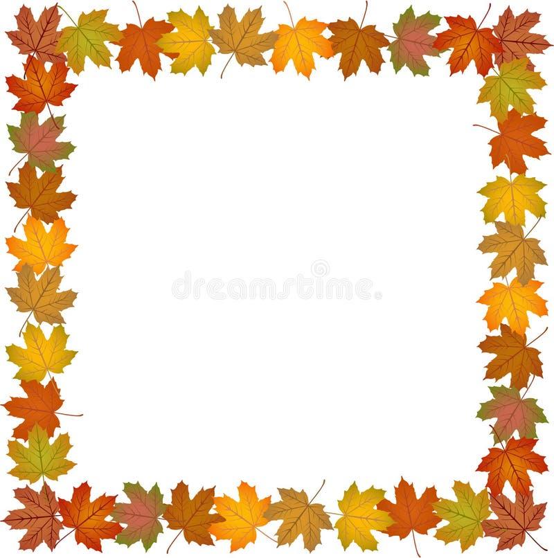 Fall leaves frame. Image representing a fall leaves frame, on white stock illustration