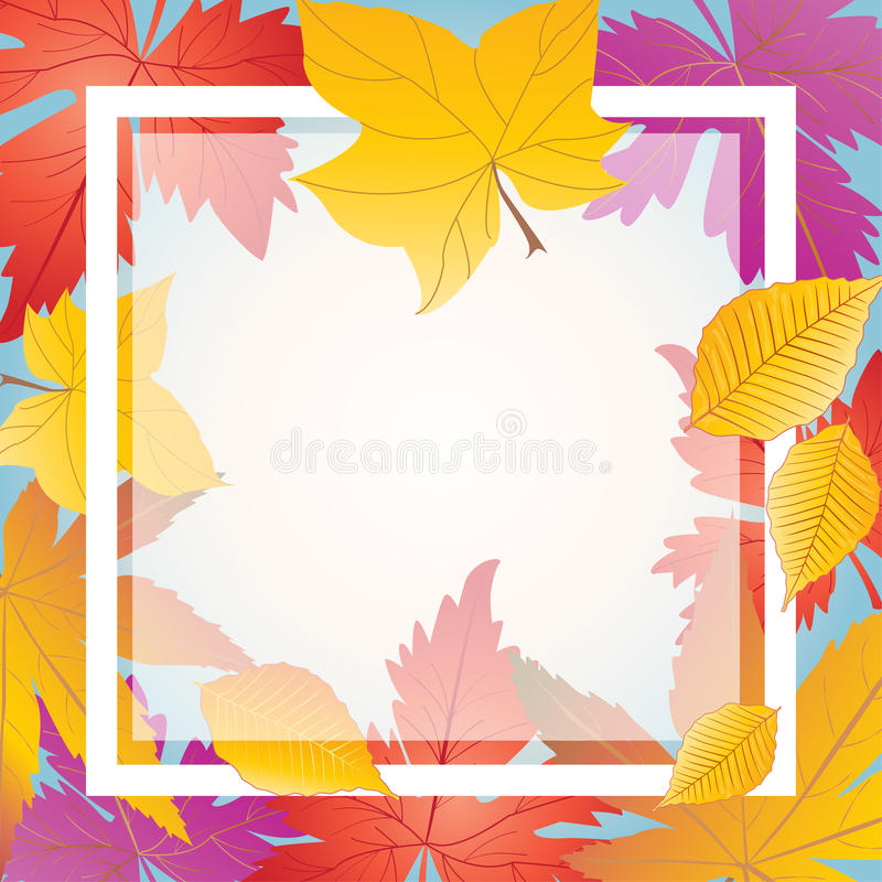 Fall leaves frame. Fall maple leaves frame. Autumn leafs border. Maple leaves Autumn background. Fall wallpaper. Holiday background. Digital Illustration. Hand vector illustration
