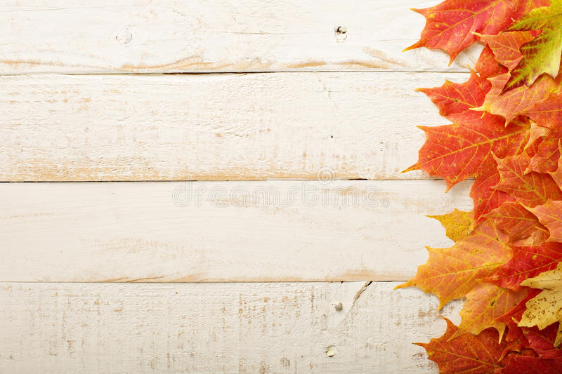 Fall leaves frame on whooden background stock photo
