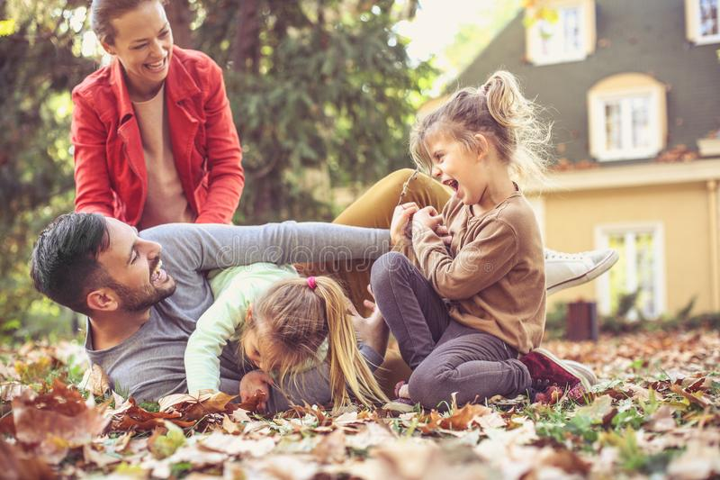 Fall leaves is great for family fun. stock photos