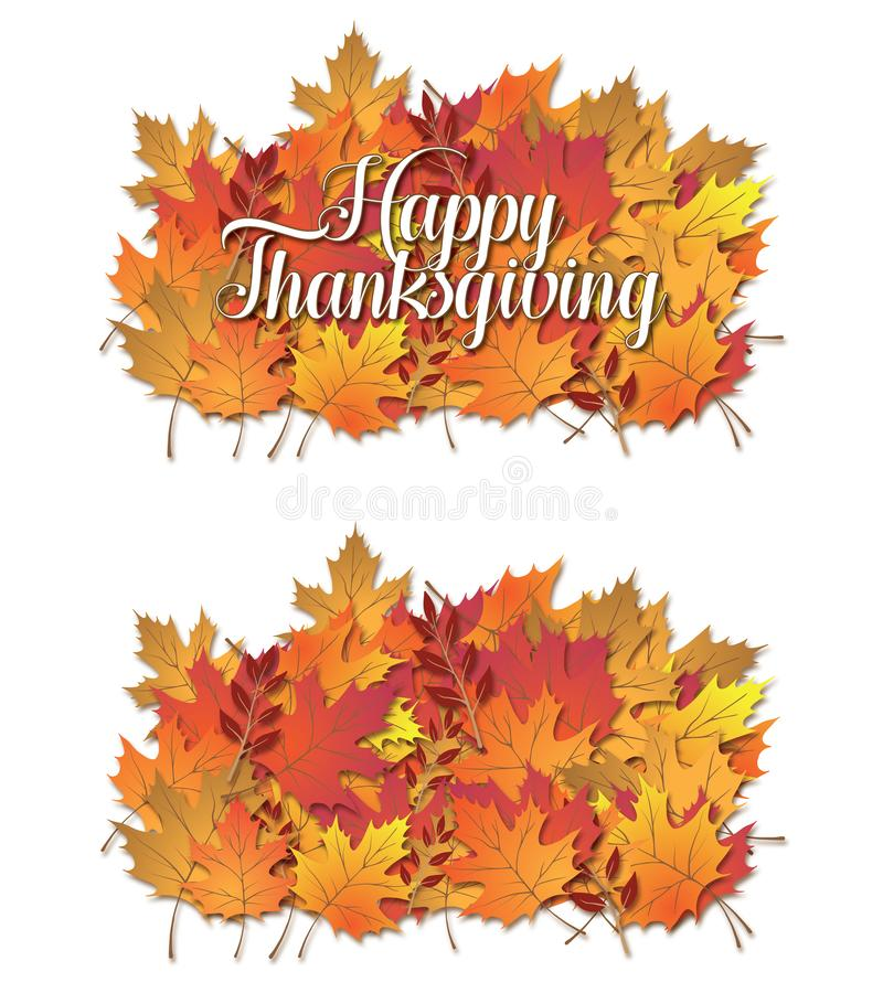 Fall Leaves group cluster on a white isolated background with an. D without type royalty free illustration