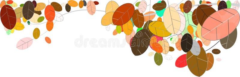 Fall leaves panorama illustration on white royalty free illustration
